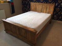 Baku Mango Wood King Size Bed - Oak Furniture Land - Includes Mattress - 1 year old