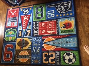 Kids boys soccer basketball, football 4 1/2 x3 3/4 room rug