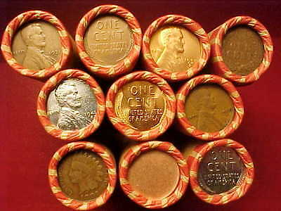 10 Rolls Lincoln Wheat Pennies 1909 Vdb Indian Ends    Lots Of  S  Mints