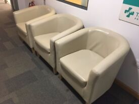 3 Beige Tub Chairs £30 each or ono