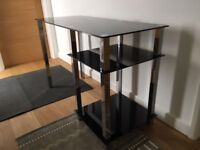 Black Glass Desk with Chrome Legs