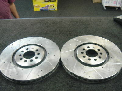 VW GOLF R32 MK4 FRONT CROSS DRILLED GROOVED BRAKE DISCS 334MM  for sale  Shipping to Ireland
