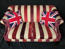 Stunning French Regency Chesterfield Style Chenille Fabric Striped 2 Seater Sofa