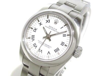 Auth ROLEX Oyster Perpetual 176200 White M007497 Women