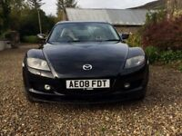 Mazda RX8 (2008) 231 PS 59,000 miles, black with cream leather interior, sunroof