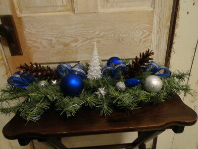 Lighted Christmas Tabletop Centerpiece,Blue & Silver,Pine cones,Bells, ()