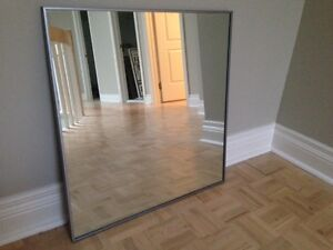 Square Mirror with Silver Metal Frame