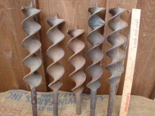 5 antique beam drill bits timber framers tools