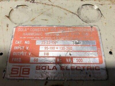 Sola 23-22-150 Constant Voltage Transformer 500va