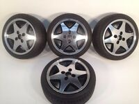 "RIAL 4X100, 15"", 6.5J. Deep dish alloy wheels, MINT CONDITION, Polished, NEW tyres, not borbet, tm"