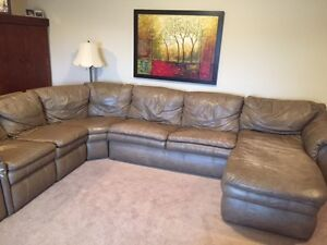 Beige Leather Lay Z Boy Sectional