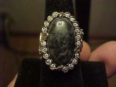 Wonderful Charcoal Jade Horse Heads Motif JOY Sterling Silver CZ Ring  Sz 7