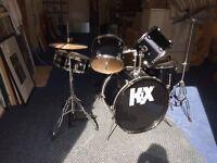 KIX drum set complete 5 piece set-up (no drum sticks)