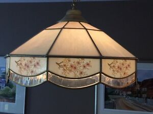 Stained glass lamp shades.