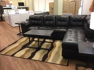Alison sectional, coffee & end table, area rug