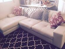 Moving out sale! White 3 seater leather lounge and ottoman New Farm Brisbane North East Preview
