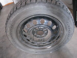 """$300 Four  14"""" Goodyear winter tires on steel rims for sale"""