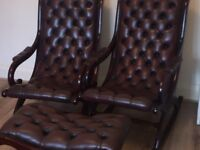 Mahogany leather chairs and footstool