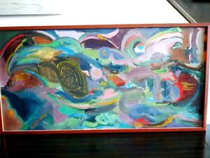 """Contemporary ORIGINAL OIL PAINTING ABSTRACT Polish 49""""L Krwawicz Kitchener / Waterloo Kitchener Area image 1"""