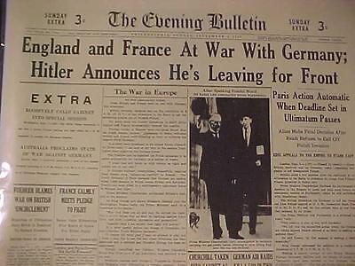VINTAGE NEWSPAPER HEADLINE~ENGLAND & FRANCE WAR GERMANY HITLER NAZIS START WWII