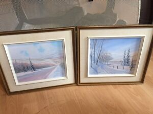 2  toiles paysage hiver incluant cadres