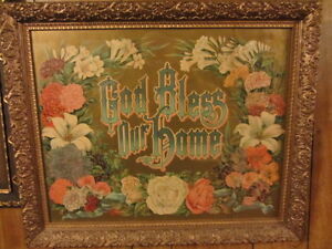 "Antique Print of ""God Bless Our Home"" in gold frame  -100 yrs+"