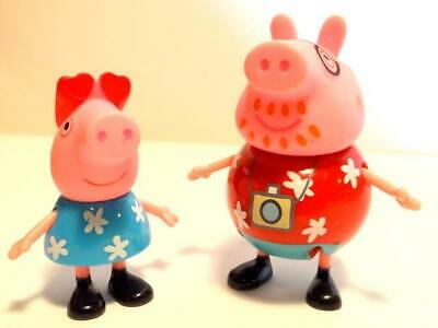 """Lot Jazwares 3"""" Peppa & Daddy Pig Mini Replacement Figures Collectible Poseable"""