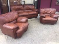 3+1+1 brown leather suite of furniture