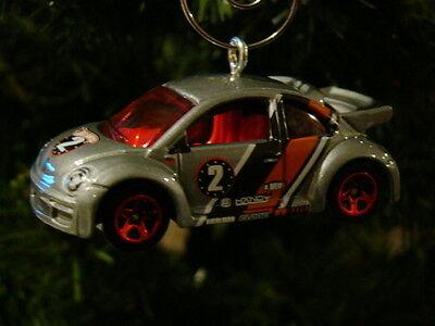 Volkswagen VW Beetle Bug Custom Christmas tree ornament ~Off road racing ~Silver