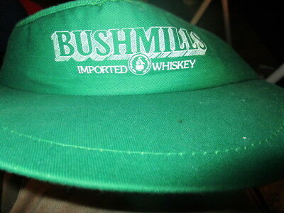 New W/O Tag Vintage 1980's BUSHMILLS IRISH WHISKEY Green Visor Screened