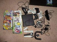 X box 360 console with Kinect, 12games and more