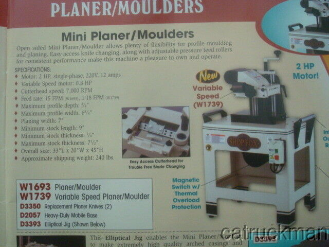 NIB Shop Fox Planer/Moulder  #W1693