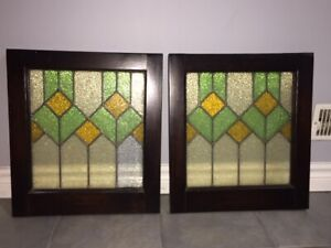 Pair of Stained glass windows 100 yr old from High Park House.
