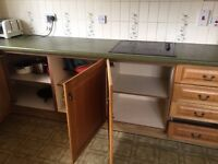 Free kitchen cabinets (base units) solid wooden doors - needs dismantling
