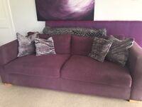 3 seater sofa in deep purple
