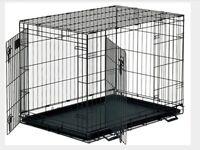 Black Dog Cage, medium size with plastic tray