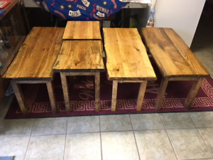 live edge coffee/end table sets