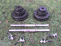 Metal Dumbbell barbell Weights and Bars 68.2 lb's 31 kg approx