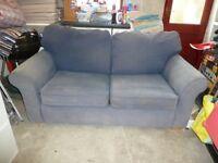 FREE: Two seater sofa-bed, with good quality pull-out metal bed frame