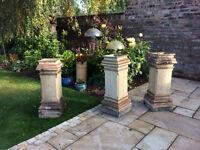 Antique/Vintage/Georgian RARE, square, buff coloured, chimney pots, J&M Craig Kilmarnock, 100cm tall