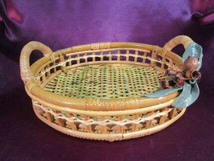 Easter basket new blue cane with handle lovely table display cane basket oval handles gumnut decoration negle Gallery
