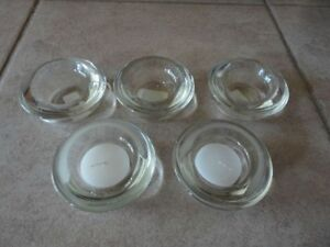 Set of 5 glass tealight candle holders brand new