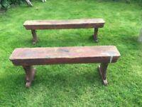 Antique/Vintage 2 X wooden benches kitchen/dining/work