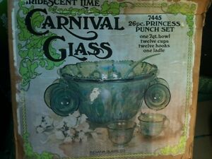 Iridescent lime green carnival glass punch bowl set