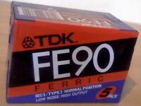 TDK FE C90 CASSETTE TAPES. NEW/SEALED £1 EACH! just ONE of dozens of tape offers inc' prerecorded.