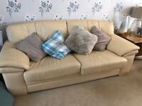 2 Cream Leather Sofas for sale - offers welcome as want gone by weekend