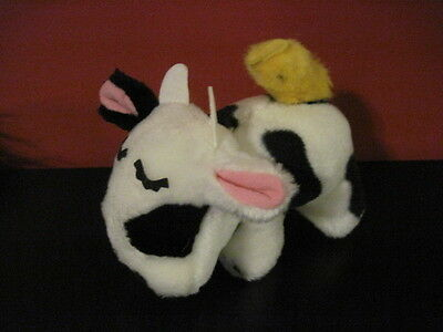 "Very RARE 6"" PRINCESS Soft Toys Plush COW w/ CHICK on back Plush Stuffed MINT ^"