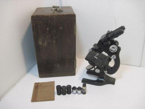 Antique 1926 Spencer Buffalo Microscope 3 Optics Manual Wood Case Key