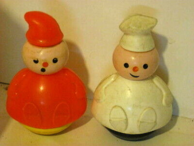 """Vintage Fisher Price 1970s Baker & Candlestick Maker 3.5"""" From 3 Men In A Tub"""