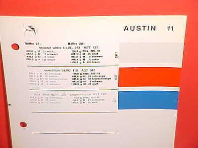 1977 AUSTIN MINI COOPER ALLEGRO MARINA MAXI BRITISH LEYLAND GLASURIT PAINT CHIPS